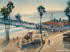 Frank Eber : Original watercolor landscape paintings : The California, USA gallery Beach Landscape, Watercolor Landscape, Landscape Paintings, Watercolor Paintings, Watercolors, Capistrano Beach, Seashore Decor, Small Town America, Aesthetic Painting