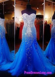 Royal Blue Prom Dresses,Royal Blue Prom Dress,Silver Beaded Formal Gown,Mermaid Beadings Prom Dresses,Evening Gowns,Tulle Formal Gown For Senior Teens MT20180083