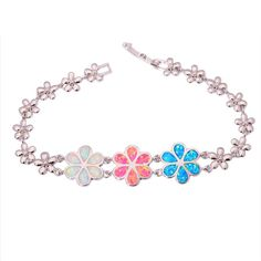 Hot Sell Blue Fire opal silver for Women Jewelry Gemstone Chain Bracelet OS435
