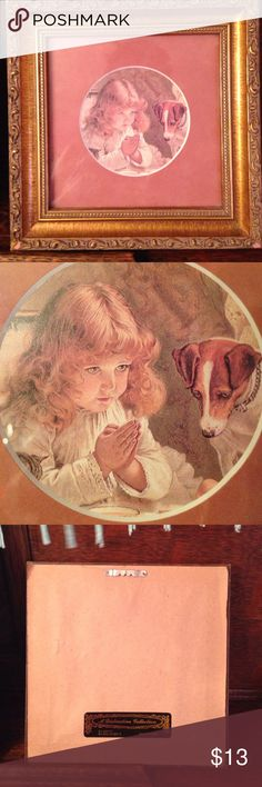 Framed print Precious print of the original little girl giving thanks over her dinner in bed, with her hungry friend by her side hoping for a bite. This would be so sweet on a bedside table. Perfect  condition. Other