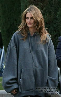 Stana Katic Castle BTS Proving she really would look good in a burlap sack! Castle Tv Series, Castle Tv Shows, Susan Sullivan, Kate Beckett, Canadian Actresses, Stana Katic, Movie Tv, Behind The Scenes, Going Out