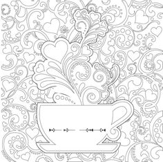 tea cups coloring pages adults - Google Search