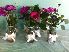 Mason jar flowers Mason Jar Flowers, Mason Jars, Center Pieces, Glass Vase, Shower, Wedding, Ideas, Home Decor, Rain Shower Heads