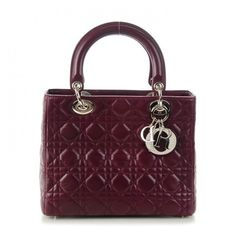 CHRISTIAN DIOR Lambskin Cannage Medium Lady Dior Burgundy ❤ liked on Polyvore featuring bags, handbags, christian dior handbags, man bag, zip purse, purple handbags and purple purse