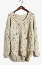 Apricot Round Neck Long Sleeve Hollow Sweater - Sheinside.com $36