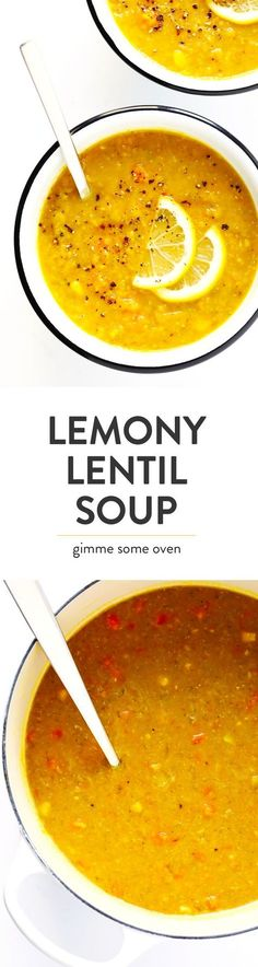 This is the BEST lentil soup recipe! It's full of amazing lemony flavor, it's naturally healthy and vegan and gluten-free, it's quick and easy to make, and SO delicious. Instant Pot and Slow Cooker instructions included too! Gimme Some Oven Vegan Soups, Vegetarian Recipes, Healthy Recipes, Free Recipes, Quick Soup Recipes, Vegetarian Soup, Healthy Dinners, Delicious Recipes, Easy Meals