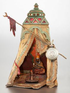 AN AUSTRIAN COLD PAINTED BRONZE TENT-FORM LAMP, circa 1900 Franz Xavier Bergman, (Austrian, 1861-1936), cold painted bronze, 12-3/4 x 8 x 8-1/2 inches