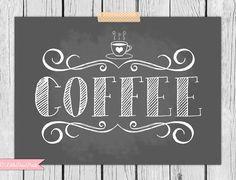 Chalkboard Coffee Print Illustrated by LittleDearPrints on Etsy, $12.00