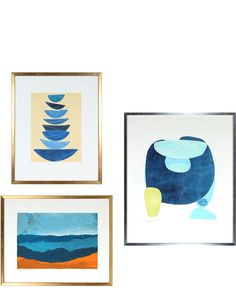 """""""Gallery Wall, 3 Seascape Abstractions"""" by Rob Delamater"""