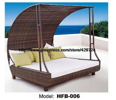 Luxury Rattan Sofa Bed With RattanTent Leisure beach Sofa Lying Lounger Outdoor Party Sofa Terrace Sun Bed balcony Lounger sofa