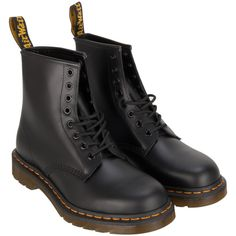 Dr Martens Classic Smooth Boot ($150) ❤ liked on Polyvore featuring shoes, boots, dr. martens, dr martens footwear, black boots, black shoes and dr martens boots