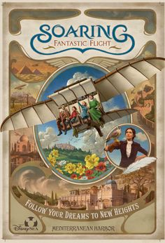 Get ready to soar on the newest attraction at a Disney theme park, Soaring: Fantastic Flight, which opened today at Tokyo DisneySea Park. Tokyo Disney Sea, Tokyo Disney Resort, Tokyo Disneyland, Disney Theme, Disney Art, Disney Pixar, Disney Stuff, Walt Disney, Vintage Disney Posters