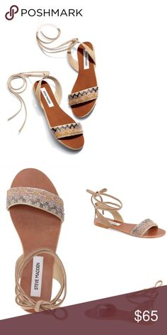 Steve Madden tie up sandals  Gorgeous beaded design & tie up design! Genuine leather all around! Brand new in box, just tried on in store! No trades! Price firm! Steve Madden Shoes Sandals