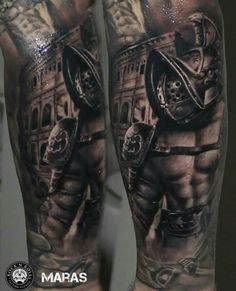 What does gladiator tattoo mean? We have gladiator tattoo ideas, designs, symbolism and we explain the meaning behind the tattoo. Warrior Tattoos, Badass Tattoos, Leg Tattoos, Black Tattoos, Body Art Tattoos, Sleeve Tattoos, Future Tattoos, Tattoos For Guys, Zues Tattoo