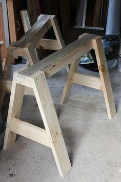 Woodworking Shop sawhorse canoe stands how to Woodworking Workshop, Woodworking Crafts, Woodworking Shop, Woodworking Plans, Woodworking Classes, Woodworking Videos, Sawhorse Plans, Workbench Plans, Workbench Top