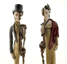 """""""At the beginning of the 19th century, both  men and women were equally perceived as the victims of fashion's whims. Two wax memento mori figurines that echo each other like gruesome bookends remind their viewers of the fragility and ephemerality of both fashion and human life."""" #FashionVictims #MementoMori #creepy #Halloween"""