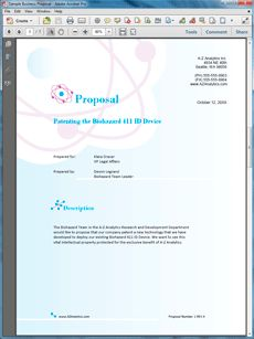 Patenting New Technology Sample Proposal - Create your own custom proposal using the full version of this completed sample as a guide with any Proposal Pack. Hundreds of visual designs to pick from or brand with your own logo and colors. Available only from ProposalKit.com (come over, see this sample and Like our Facebook page to get a 20% discount)
