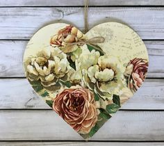 Excited to share this item from my shop: decoupaged wooden hanging heart ~Antique Roses ~ Shabby/Floral/Home Decor/ Birthday Gift/Mother's Day Mother Birthday Gifts, Mother Gifts, Shabby Vintage, Vintage Roses, Decoupage, Winter Home Decor, Hanging Hearts, Jute Twine, Antique Roses