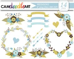 Wedding ClipartBridal ShowerWreath Clipart Floral by CamDoodleArt