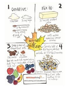 Learn how to make a fall crisp, a classic seasonal treat, using this step-by-step illustration. Healthy Desserts, Dessert Recipes, Girls Bible, Natural Kitchen, Fruit Cups, Presents For Girls, Autumn, Fall, Make It Simple