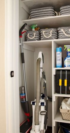 Get your home organized by changing a small coat closet into a cleaning closet to make chores easier. #cleaning #organizing #diy - Polished Habitat
