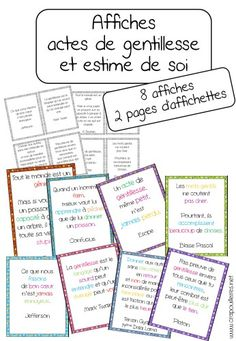 to support my project on self-esteem and acts of kindness … – Education Subjects French Teacher, Teaching French, French Classroom, School Classroom, Social Work, Social Skills, Poster S, Anti Bullying, Learn French