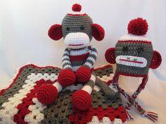 Baby sock monkey blanket toy hat by BestDressedBaby on Etsy