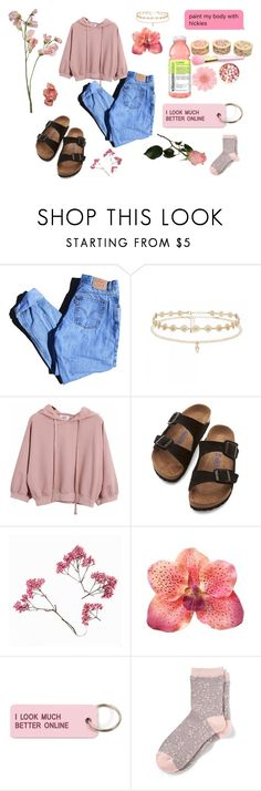 """""""feeling pink"""" by lizzyduncann ❤ liked on Polyvore featuring Levi's, Forever New, Chicnova Fashion, Birkenstock, Various Projects and Banana Republic"""
