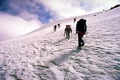 """Europe - Information about Georgia, ice Pyramids, Mount Kazbek, Baku, Elbruz, the Black and Caspian Seas.  """"GEORGIA, Europe   Our expedition took three hours to reach the summit but it was all worth it."""" -hir"""