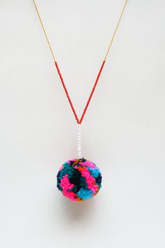Colourful Pom Pom Necklace - one of a kind