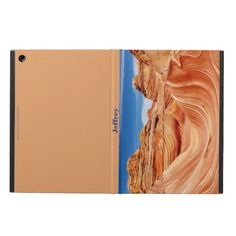 """iPad Air Case, """"The Wave"""", Tan Back - The front of this iPad Air case is a beautiful, dramatic photograph of the """"The Wave"""", a beautiful paradise for hikers and photographers in Arizona. Back is tan, to match. Customized with name across the spine. Wonderful gift for a hiker or anyone who loves the southwest or the outdoors. Original photograph by Alan Socolik. #TheWave #Arizona #CasesForIPadAir #iPadAirCases #iPadAir"""