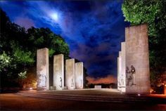 Moonlight and flood lights illumine the Veteran's Memorial War Memorial at Virginia Tech - university. #DdO:) - https://www.pinterest.com/DianaDeeOsborne/sky-lights/ - SKY LIGHTS - a place where college students often go to think, rest, read, look over the marching field beyond the marble columns. A UNIQUE PIN. Photo CREDIT: Kari Keen, 2015. #MILITARY #HONOR