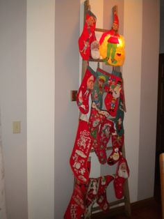 Vintage wooden ladder stocking Christmas tree!!