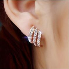 Fashion Gold Color Style Simple Crystal Stud Earrings For Women Wedding Jewelry Bridal Engagement Earrings Female Gifts. Gold Earrings Designs, Rose Gold Earrings, Crystal Earrings, Clip On Earrings, Women's Earrings, Earrings Online, Flower Earrings, Crystal Jewelry, Diamond Stud Earrings