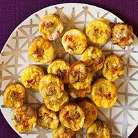 Spanish Tortilla Bites... name doesn't match the recipe from Rachel Ray, but it seems like a good base recipe to touch up with your favorite toppings.