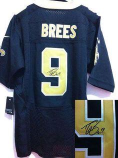 699c5766b Nike Saints  9 Drew Brees Signed Black Team Color Mens NFL Elite Jersey And