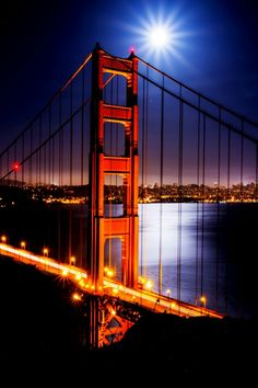 City of San Francisco in California The Golden Gate Bridge at night. It's a spectacular sight.