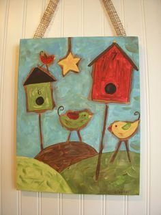 Primitive Folk Art BirdsOriginal PaintingRustic by theivylane, $36.00 Bird Canvas, Burlap Canvas, Primitive Folk Art, Cute Birds, Bird Houses, Hanging Out, Decorative Accessories, Abstract Art, Wall Decor