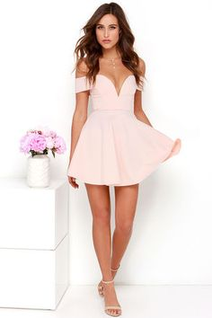 Tune up your wardrobe with the Sensational Anthem Off-the-Shoulder Light Pink Dress! This flirtatious knit dress has a sweetheart neckline and full skater skirt. Hoco Dresses, Dance Dresses, Pretty Dresses, Homecoming Dresses, Sexy Dresses, Dress Outfits, Fashion Dresses, Summer Dresses, Formal Dresses