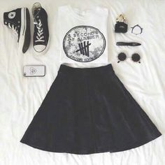 Cute :) 5 seconds of summer top- black skirt - converse- sunglasses- phone case