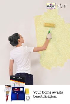 Paint your home, by yourself. Berger iPaint DIY Home Painting kit comes with a direction of use booklet, roller, masking tape, sponge block, brush and a painting tray. It includes right set of tools which are required to paint your walls by yourself.  #BergerPaintsIndia #PaintYourImagination Explore our DIY paints today!