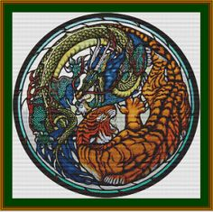 Tiger and Dragon Stained Glass  PDF Cross by XSquaredCrossStitch, $3.00