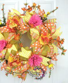 Deco Mesh Summer Wreath Yellow Orange Hot door SouthernCharmWreaths