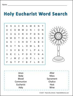 Free printable Holy Communion word search puzzles, perfect for Catholic kids preparing for First Communion or kids studying the Sacraments. Ccd Activities, Religion Activities, Teaching Religion, Church Activities, Seven Sacraments, Catholic Sacraments, Catholic Catechism, Communion Prayer, Catholic Communion