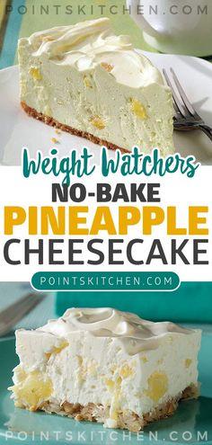 No-Bake Pineapple Cheesecake Recipe - dessert recipes Keto Cheesecake, Pineapple Cheesecake, Baked Pineapple, Pineapple Desserts, Baked Cheesecake Recipe, Pineapple Recipes Healthy, Low Calorie Cheesecake, Healthy Cheesecake Recipes, Pineapple Diet