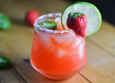 Strawberry & Jalapeno Margarita. Sweet, spicy and perfect for summer!