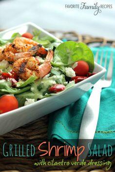 Grilled Shrimp Salad with Cilantro Verde Dressing Recipe. Seafood Recipes, Dinner Recipes, Cooking Recipes, Healthy Recipes, Salad Recipes, Healthy Salads, Fish Recipes, Drink Recipes, Yummy Recipes