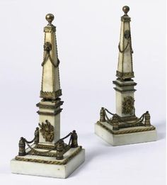 A Pair of Louis XVI Ormolu Mounted Marble Obelisks Late Century height 16 in. Luis Xvi, Baroque Design, Home Libraries, Grand Tour, Luxury Interior Design, Chinoiserie, Decoration, 18th Century, Castle
