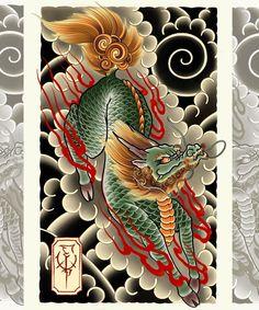 Fu Dog, Asian Tattoos, Tatting, Cool Art, Art Drawings, Oriental, Tattoo Designs, Dragon, Instagram