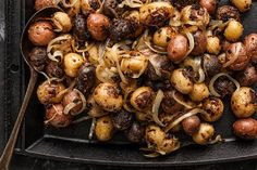 Mustard Roasted Potatoes: tiny marble potatoes and sliced onions, tossed in mustard and olive oil, and roasted until tender and browned. Healthy Thanksgiving Recipes, Vegetarian Recipes, Cooking Recipes, Healthy Recipes, Gf Recipes, Easy Recipes, Healthy Food, Recipies, Easy Roasted Potatoes